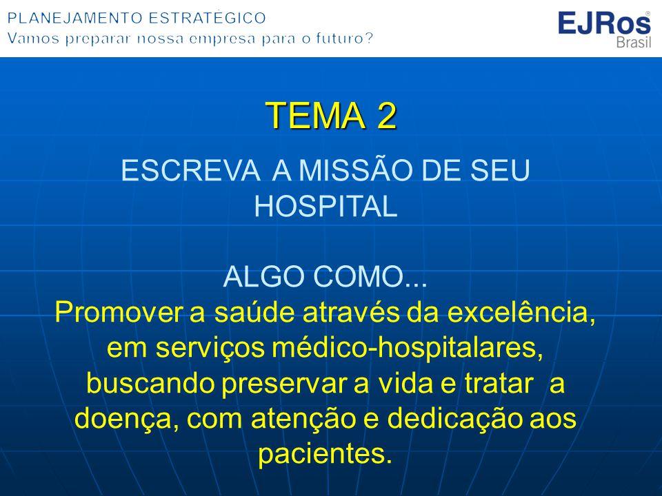 TEMA 2 ESCREVA A MISSÃO DE SEU HOSPITAL ALGO COMO... Promover a saúde através da excelência, em serviços médico-hospitalares, buscando preservar a vid