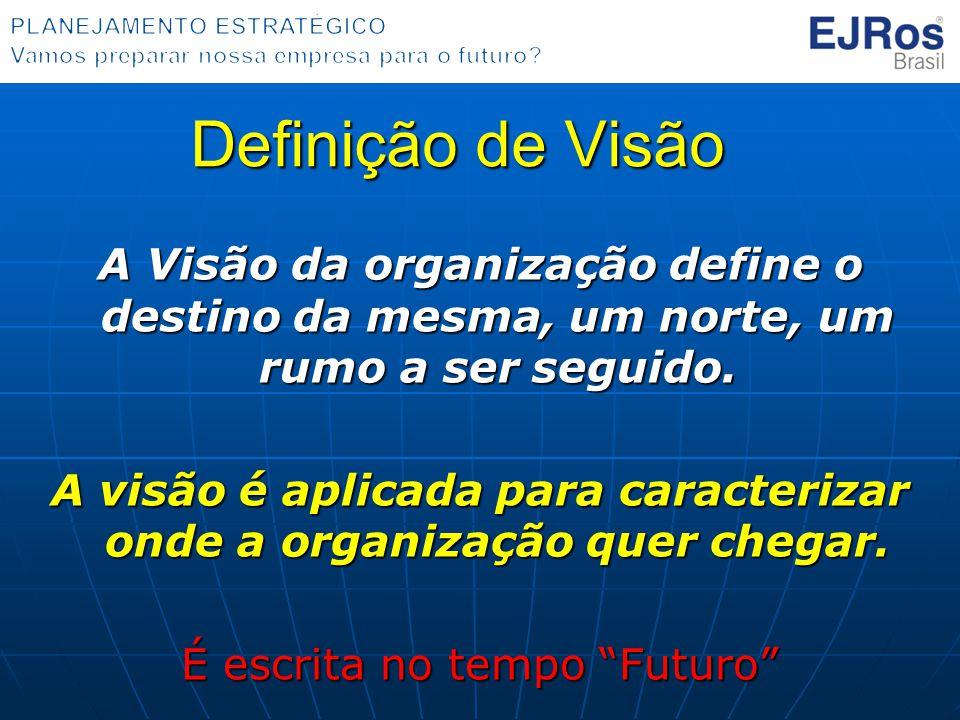 Definição de Visão A Visão da organização define o destino da mesma, um norte, um rumo a ser seguido. A visão é aplicada para caracterizar onde a orga