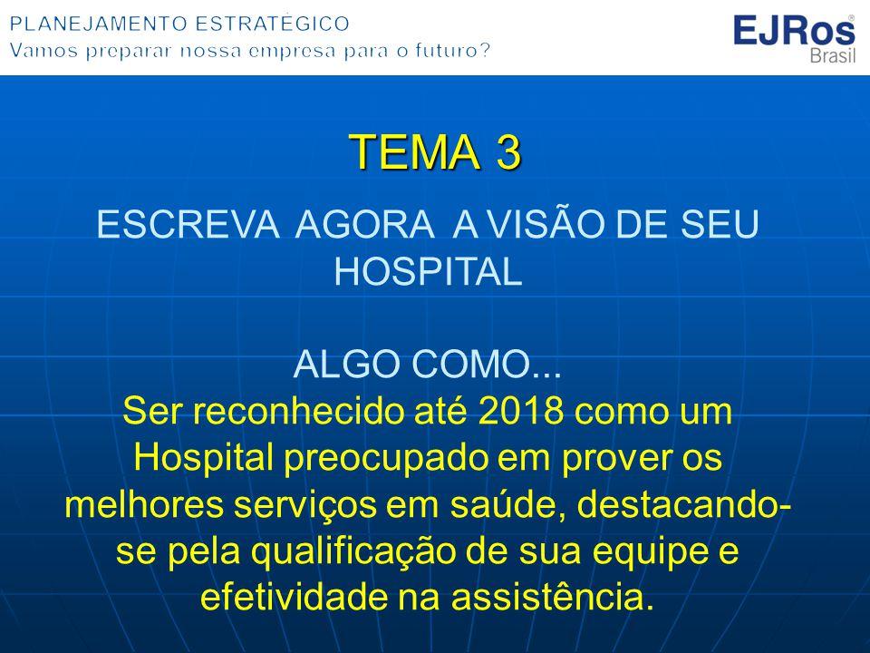TEMA 3 ESCREVA AGORA A VISÃO DE SEU HOSPITAL ALGO COMO... Ser reconhecido até 2018 como um Hospital preocupado em prover os melhores serviços em saúde