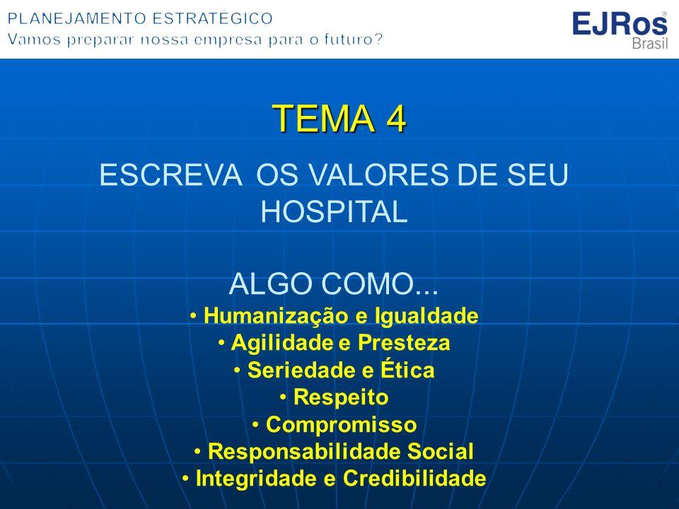 TEMA 4 ESCREVA OS VALORES DE SEU HOSPITAL ALGO COMO...