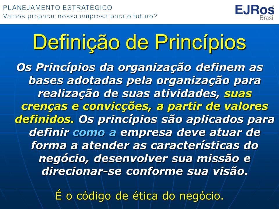 Definição de Princípios Os Princípios da organização definem as bases adotadas pela organização para realização de suas atividades, suas crenças e con