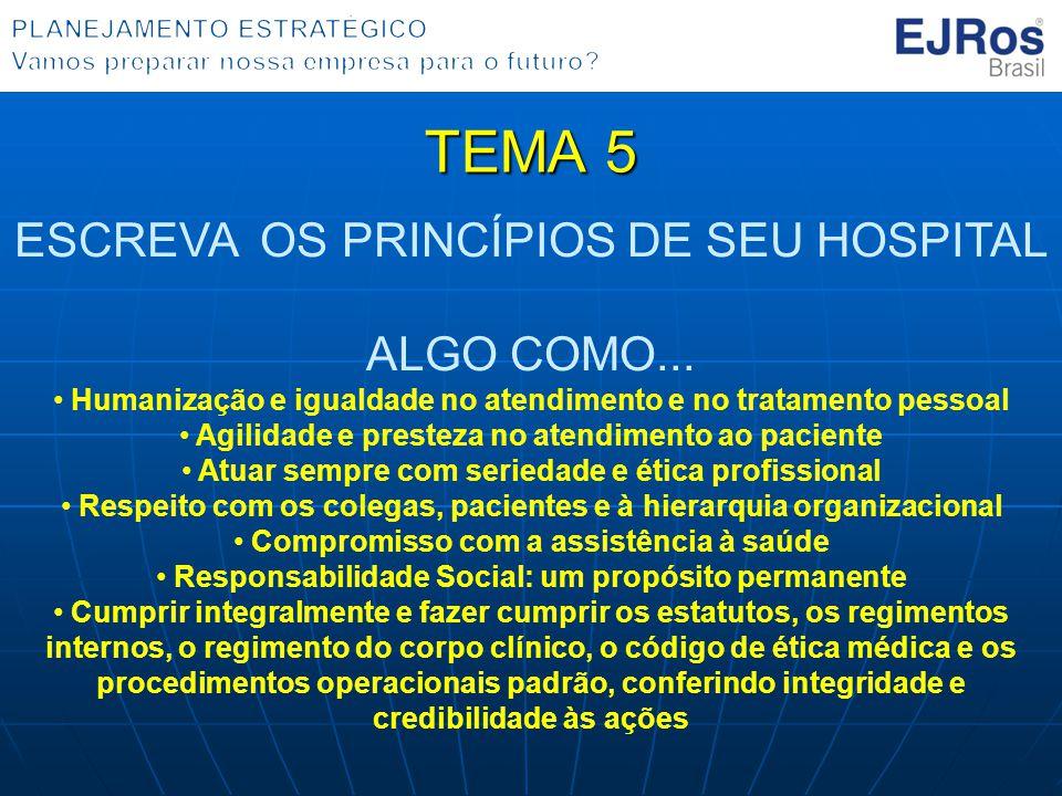 TEMA 5 ESCREVA OS PRINCÍPIOS DE SEU HOSPITAL ALGO COMO... Humanização e igualdade no atendimento e no tratamento pessoal Agilidade e presteza no atend