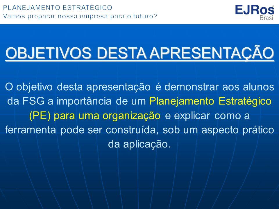 OBJETIVOS DESTA APRESENTAÇÃO O objetivo desta apresentação é demonstrar aos alunos da FSG a importância de um Planejamento Estratégico (PE) para uma o