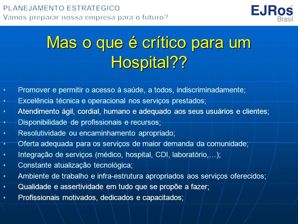Mas o que é crítico para um Hospital?? Promover e permitir o acesso à saúde, a todos, indiscriminadamente; Excelência técnica e operacional nos serviç