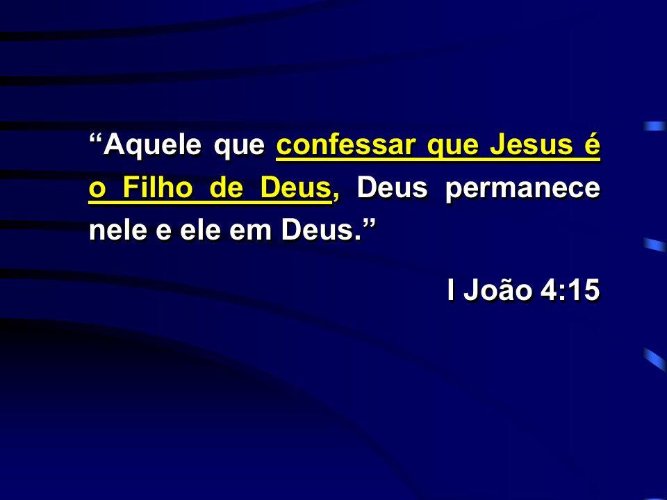 """""""Aquele que confessar que Jesus é o Filho de Deus, Deus permanece nele e ele em Deus."""" I João 4:15 """"Aquele que confessar que Jesus é o Filho de Deus,"""