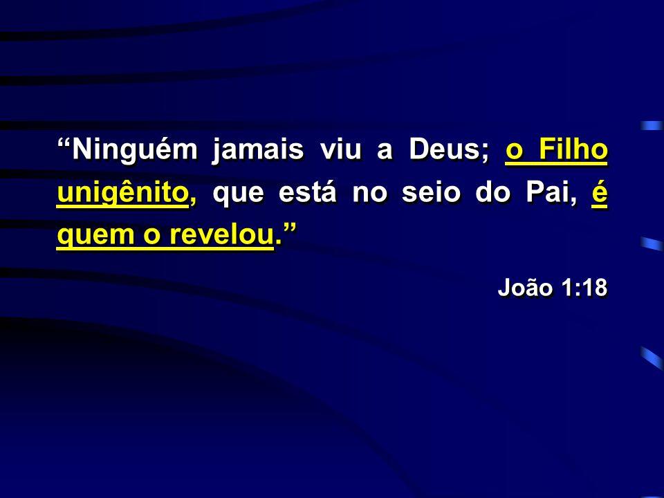 """""""Ninguém jamais viu a Deus; o Filho unigênito, que está no seio do Pai, é quem o revelou."""" João 1:18 """"Ninguém jamais viu a Deus; o Filho unigênito, qu"""
