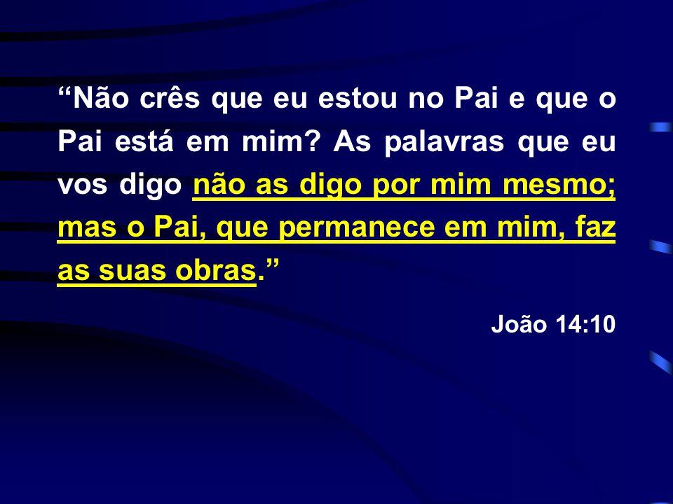 """""""Não crês que eu estou no Pai e que o Pai está em mim? As palavras que eu vos digo não as digo por mim mesmo; mas o Pai, que permanece em mim, faz as"""