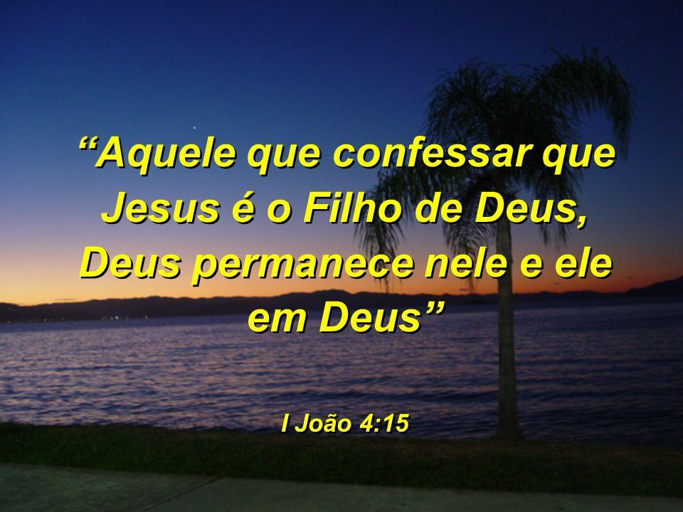 """""""Aquele que confessar que Jesus é o Filho de Deus, Deus permanece nele e ele em Deus"""" I João 4:15 """"Aquele que confessar que Jesus é o Filho de Deus, D"""