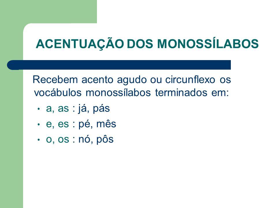 ACENTUAÇÃO DOS MONOSSÍLABOS Recebem acento agudo ou circunflexo os vocábulos monossílabos terminados em: a, as : já, pás e, es : pé, mês o, os : nó, pôs