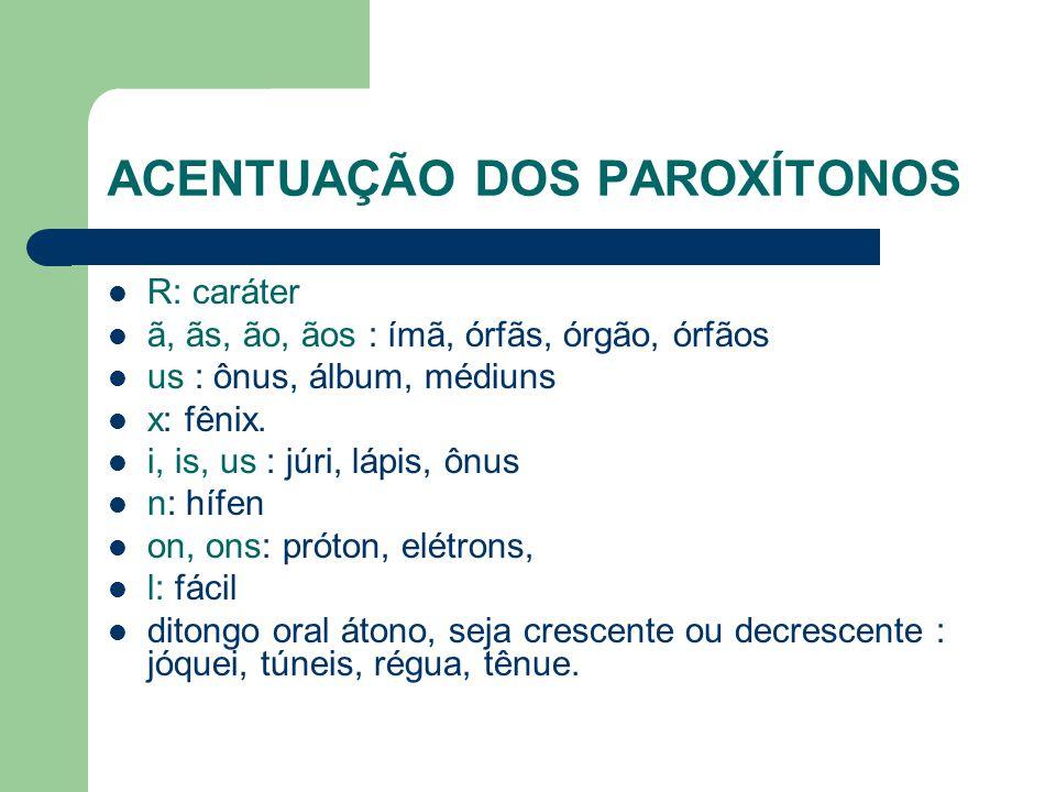 ACENTUAÇÃO DOS PAROXÍTONOS R: caráter ã, ãs, ão, ãos : ímã, órfãs, órgão, órfãos us : ônus, álbum, médiuns x: fênix.