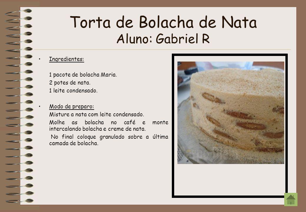 Torta de Bolacha de Nata Aluno: Gabriel R Ingredientes: 1 pacote de bolacha Maria. 2 potes de nata. 1 leite condensado. Modo de preparo: Misture a nat
