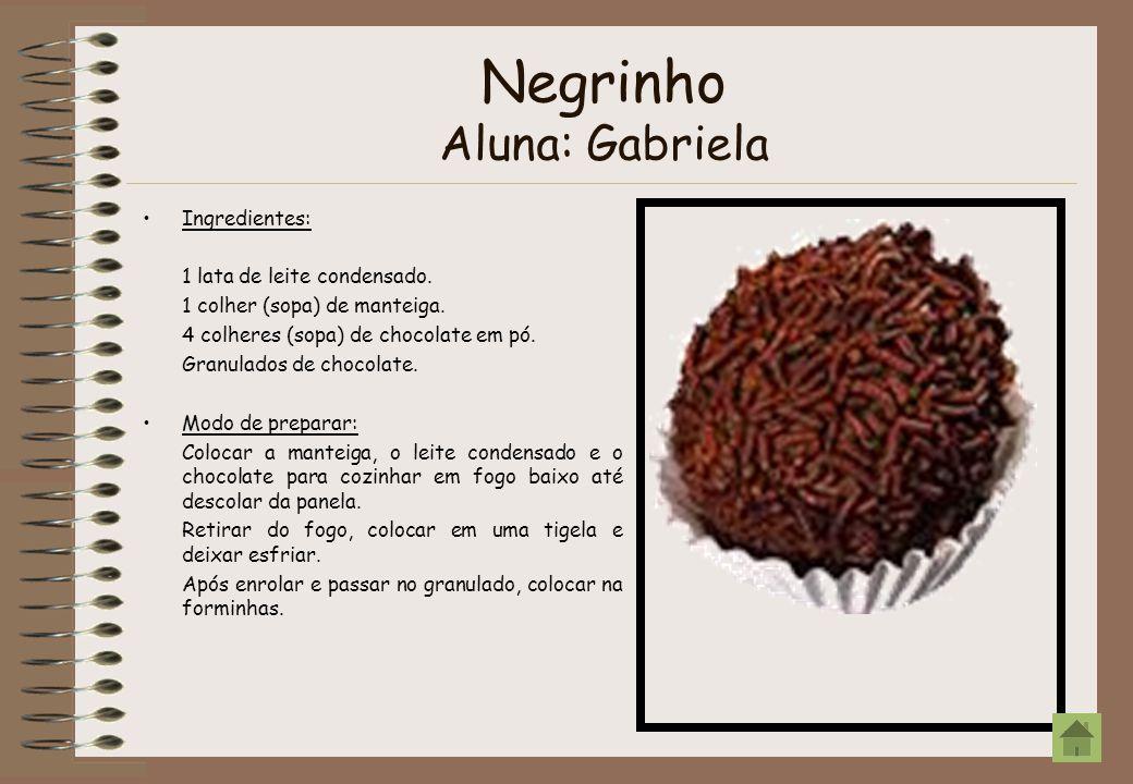 Negrinho Aluna: Gabriela Ingredientes: 1 lata de leite condensado. 1 colher (sopa) de manteiga. 4 colheres (sopa) de chocolate em pó. Granulados de ch
