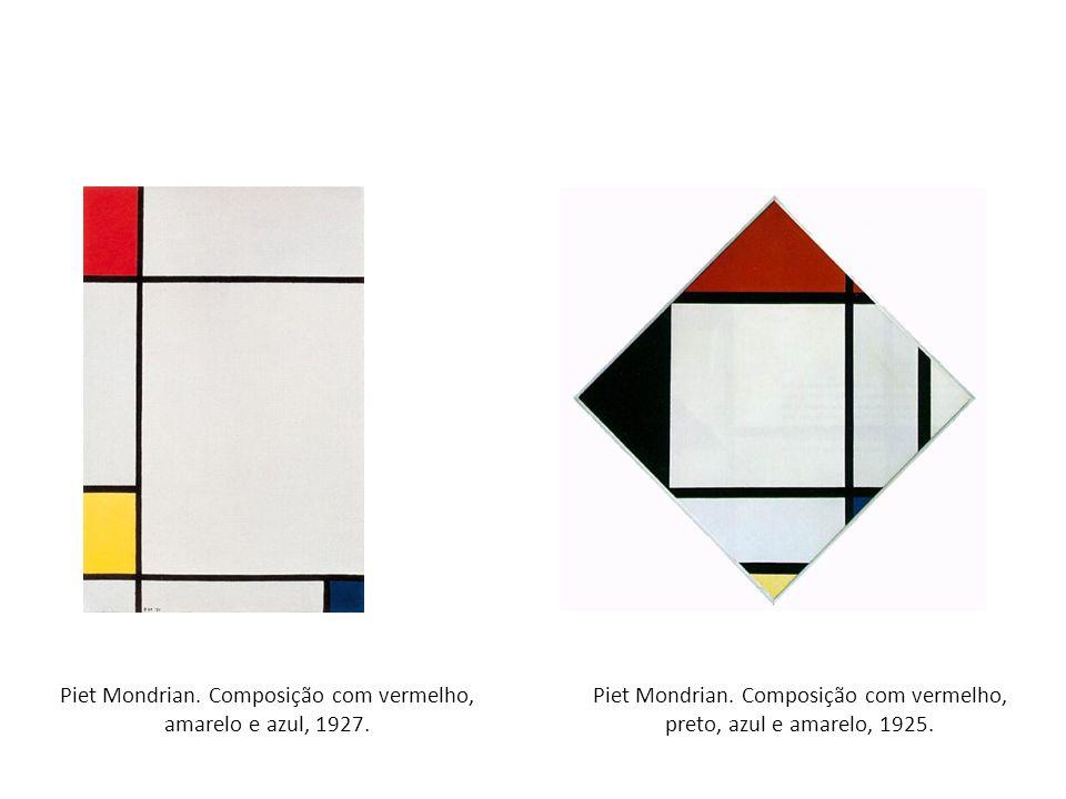 Piet Mondrian. Composição com vermelho, amarelo e azul, 1927. Piet Mondrian. Composição com vermelho, preto, azul e amarelo, 1925.