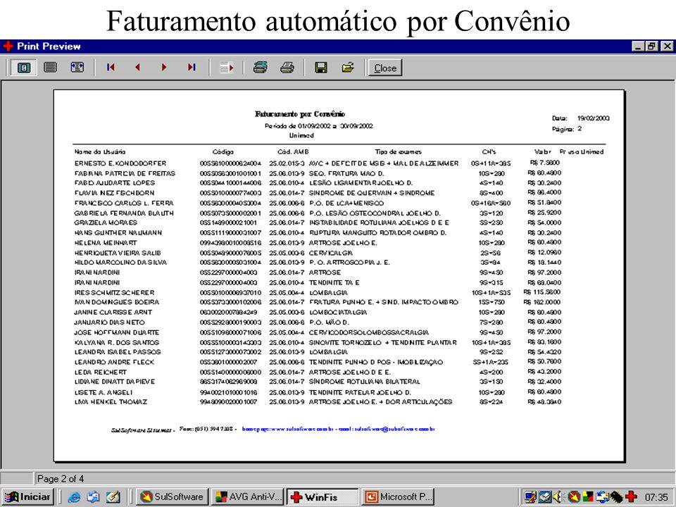 Faturamento automático por Convênio