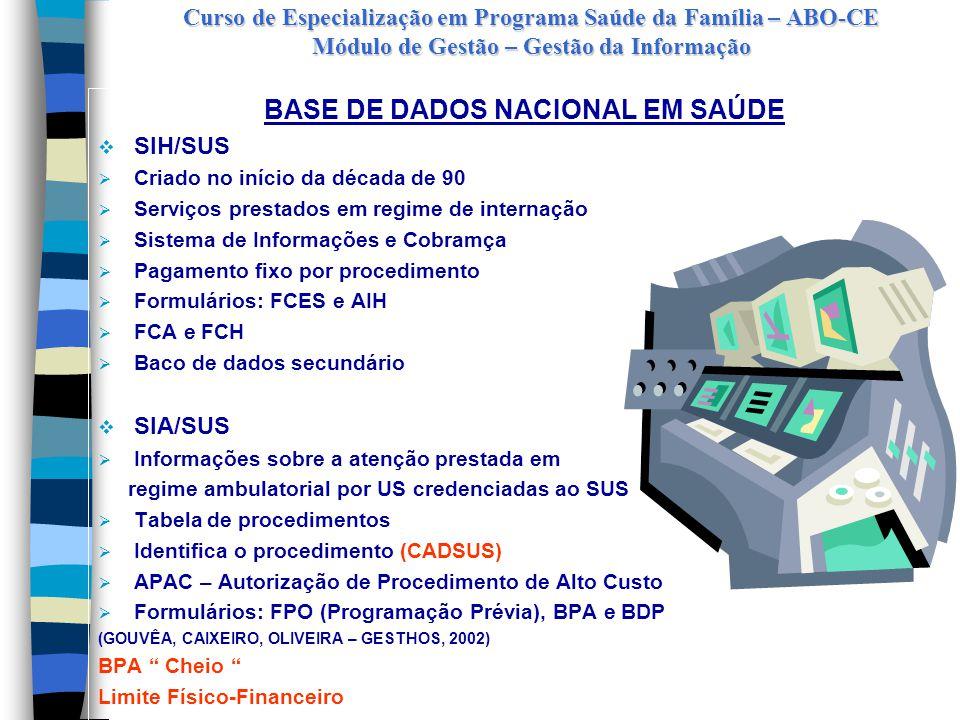 Curso de Especialização em Programa Saúde da Família – ABO-CE Módulo de Gestão – Gestão da Informação BASE DE DADOS NACIONAL EM SAÚDE  Sistema de Informação sobre Mortalidade (SIM)  Sistema de Informação sobre Nascidos Vivos (SINASC)  Sistema Nacional de Agravos de Notificação (SINAN)  Sistema de Informações Hospitalares do SUS (SIH/SUS)  Sistema de Informações Ambulatoriais do SUS (SIA/SUS)  Sistema de Informação da Atenção Básica (SIAB)  Cartão Nacional de Saúde (GOUVÊA, CAIXEIRO, OLIVEIRA – GESTHOS, 2002)  Outros acessos importantes:  Fundo Nacional de Saúde  Pacto de Atenção Básica  Portal Saúde