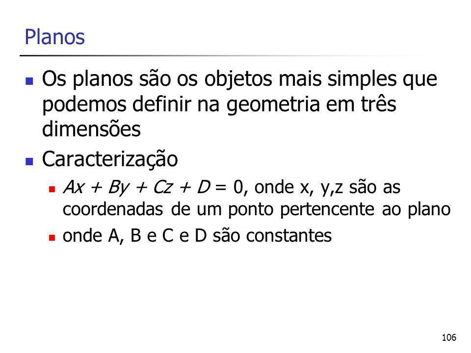 106 Planos Os planos são os objetos mais simples que podemos definir na geometria em três dimensões Caracterização Ax + By + Cz + D = 0, onde x, y,z são as coordenadas de um ponto pertencente ao plano onde A, B e C e D são constantes