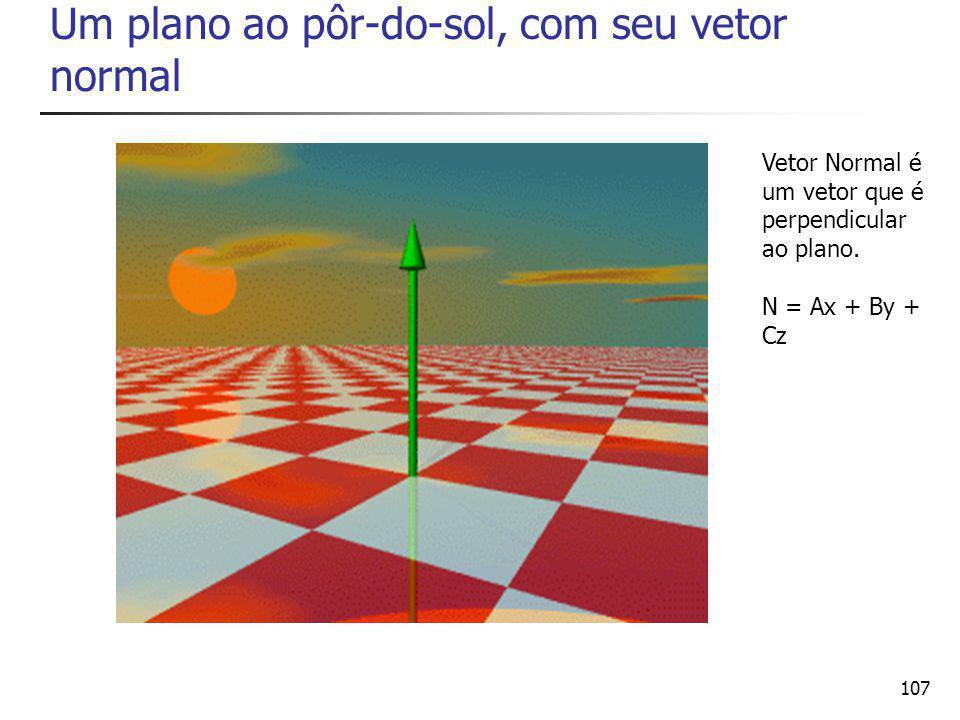 107 Um plano ao pôr-do-sol, com seu vetor normal Vetor Normal é um vetor que é perpendicular ao plano.