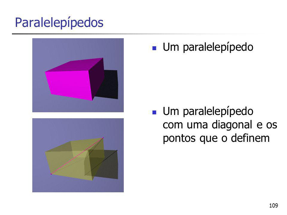 109 Paralelepípedos Um paralelepípedo Um paralelepípedo com uma diagonal e os pontos que o definem