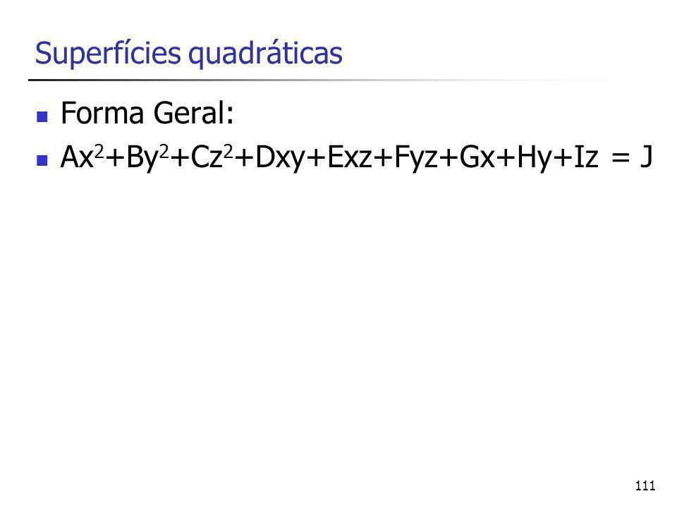 111 Superfícies quadráticas Forma Geral: Ax 2 +By 2 +Cz 2 +Dxy+Exz+Fyz+Gx+Hy+Iz = J