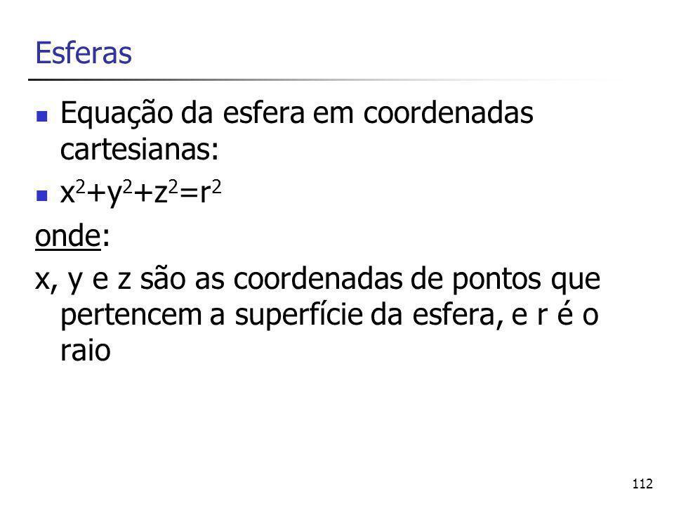 112 Esferas Equação da esfera em coordenadas cartesianas: x 2 +y 2 +z 2 =r 2 onde: x, y e z são as coordenadas de pontos que pertencem a superfície da esfera, e r é o raio