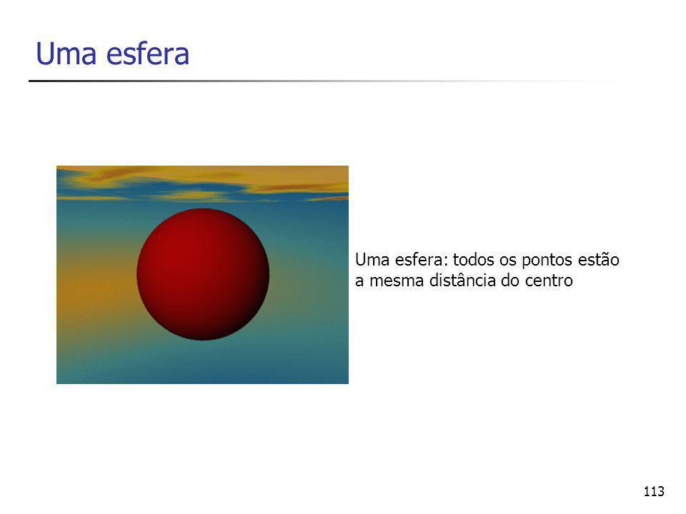 113 Uma esfera Uma esfera: todos os pontos estão a mesma distância do centro