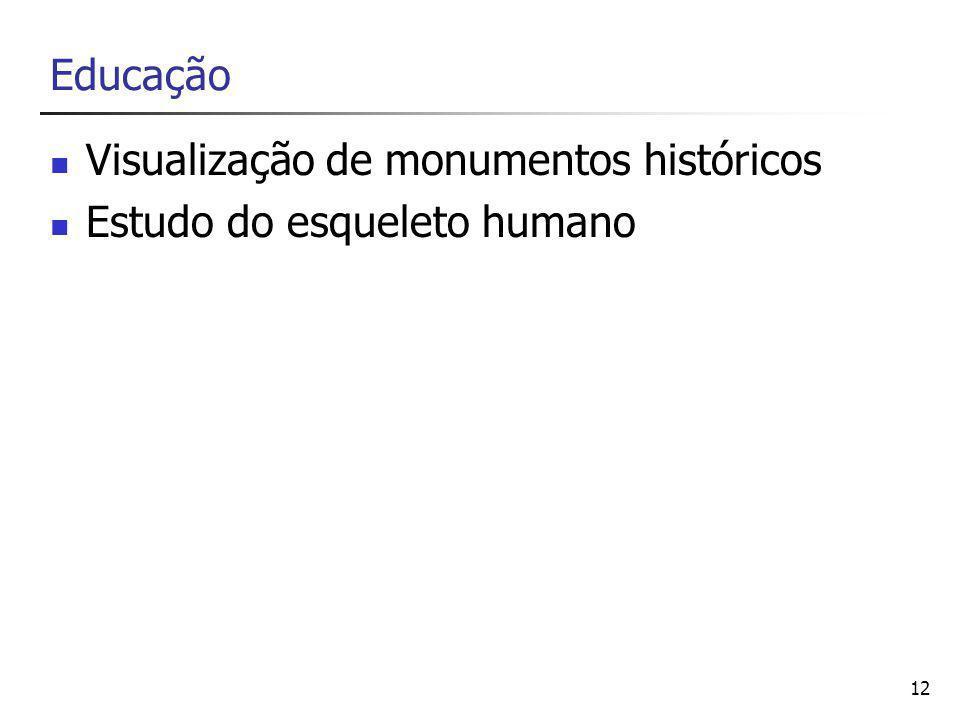 12 Educação Visualização de monumentos históricos Estudo do esqueleto humano