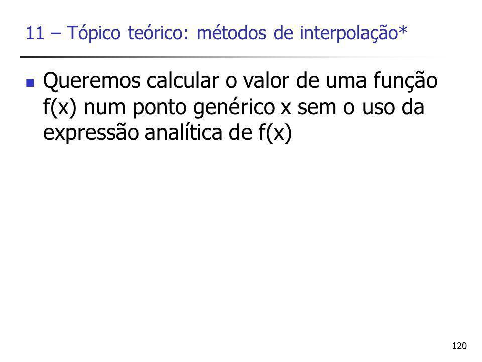 120 11 – Tópico teórico: métodos de interpolação* Queremos calcular o valor de uma função f(x) num ponto genérico x sem o uso da expressão analítica de f(x)