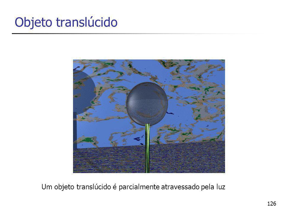 127 Objeto transparente Um objeto transparente permite a passagem total da luz