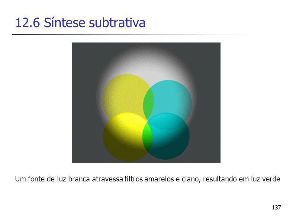 137 12.6 Síntese subtrativa Um fonte de luz branca atravessa filtros amarelos e ciano, resultando em luz verde
