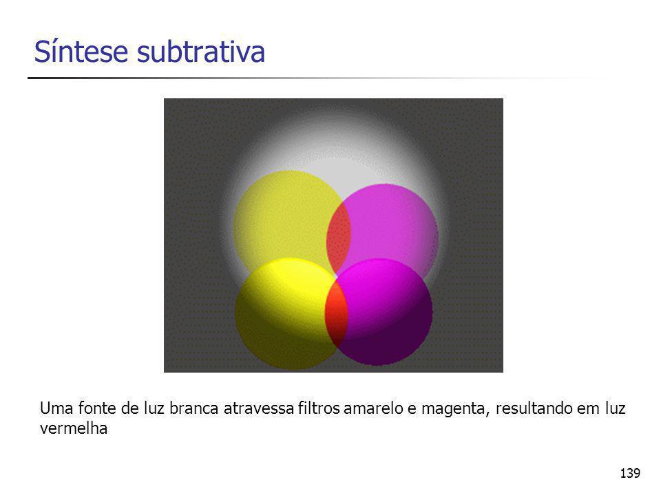 139 Síntese subtrativa Uma fonte de luz branca atravessa filtros amarelo e magenta, resultando em luz vermelha