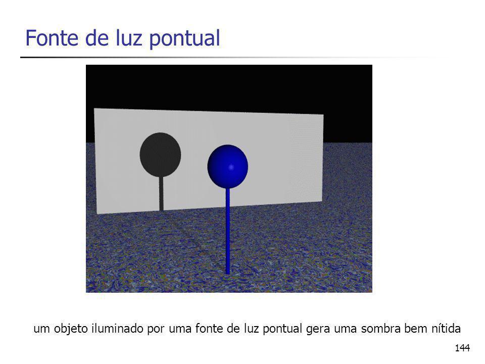 144 Fonte de luz pontual um objeto iluminado por uma fonte de luz pontual gera uma sombra bem nítida