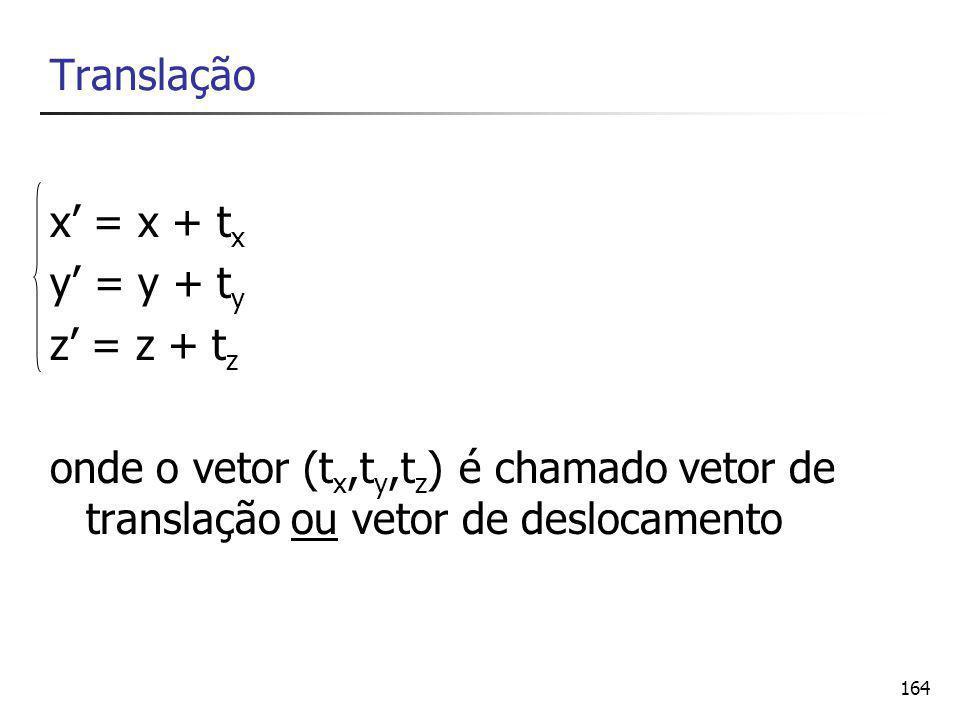 164 Translação x' = x + t x y' = y + t y z' = z + t z onde o vetor (t x,t y,t z ) é chamado vetor de translação ou vetor de deslocamento