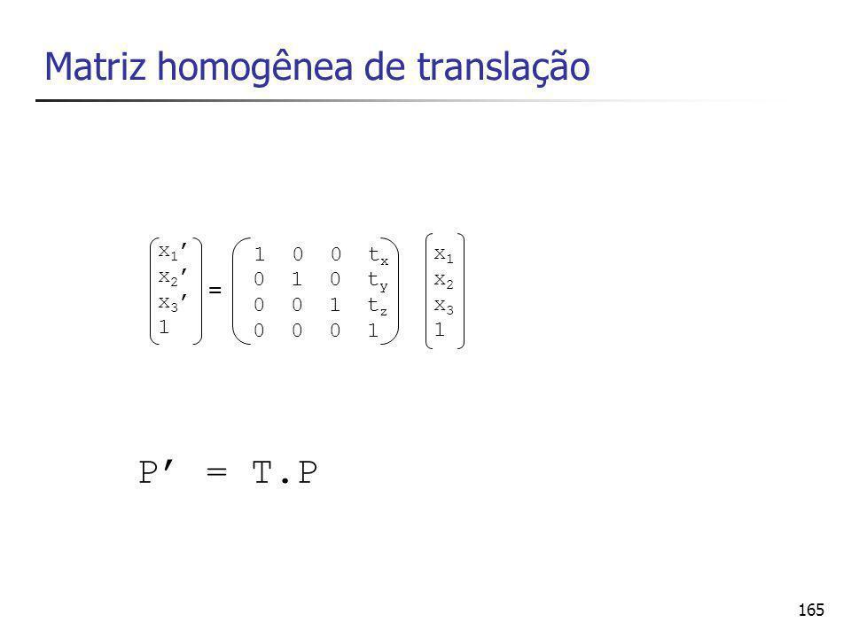 165 Matriz homogênea de translação P' = T.P x1'x2'x3'1x1'x2'x3'1 1 0 0 t x 0 1 0 t y 0 0 1 t z 0 0 0 1 x1x2x31x1x2x31 =