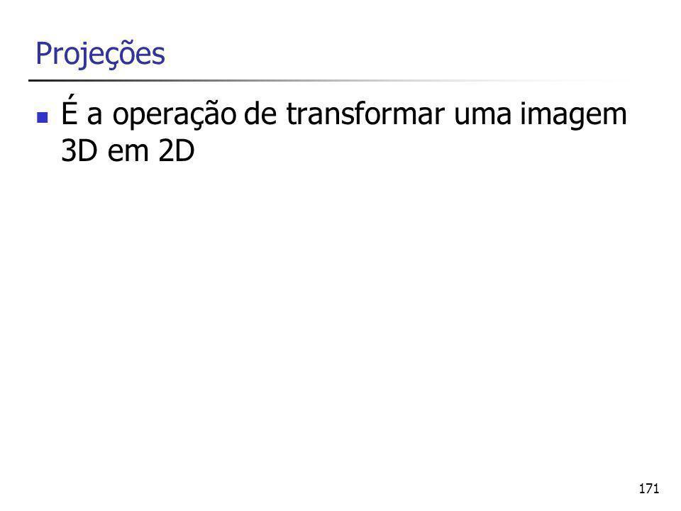 171 Projeções É a operação de transformar uma imagem 3D em 2D