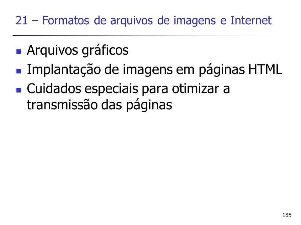186 Arquivos gráficos Chamamos formato o conjunto de regras que estabelecem um padrão de organização de dados nos arquivos gráficos