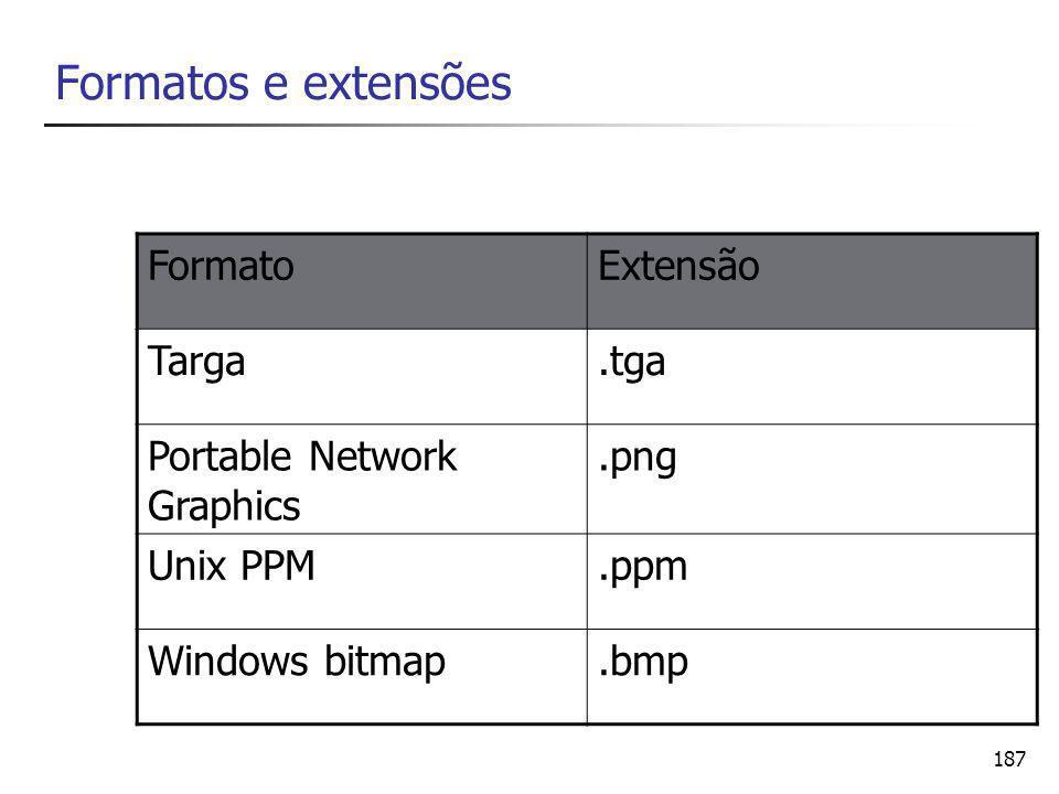 187 Formatos e extensões FormatoExtensão Targa.tga Portable Network Graphics.png Unix PPM.ppm Windows bitmap.bmp
