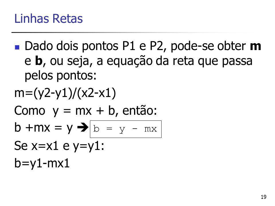 19 Linhas Retas Dado dois pontos P1 e P2, pode-se obter m e b, ou seja, a equação da reta que passa pelos pontos: m=(y2-y1)/(x2-x1) Como y = mx + b, então: b +mx = y  b = y - mx Se x=x1 e y=y1: b=y1-mx1
