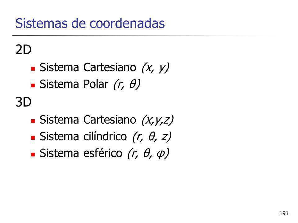 191 Sistemas de coordenadas 2D Sistema Cartesiano (x, y) Sistema Polar (r, θ) 3D Sistema Cartesiano (x,y,z) Sistema cilíndrico (r, θ, z) Sistema esférico (r, θ, φ)