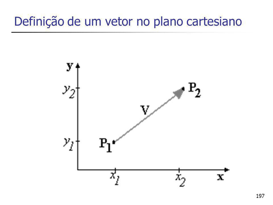198 Operações com vetores produto por um escalar soma de vetores (+) produto escalar (.) produto vetorial (x)