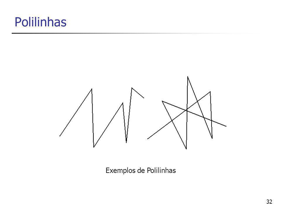 33 Propriedades da Polilinhas é composta de n segmentos de retas (n >= 1) é definida por n + 1 pontos Polilinha poderá ser aberta ou fechada