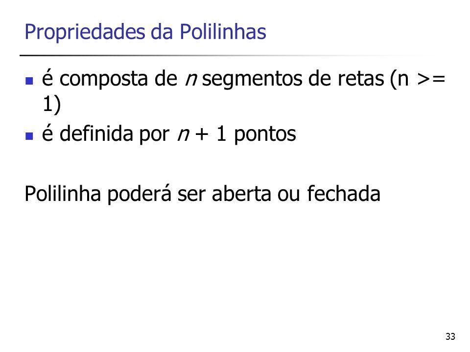 34 Polígono Pode ser definido como uma polilinha fechada Propriedades: n segmentos de retas (n >= 2) definida por n pontos Obs: No caso da definição de apenas dois pontos, haverá dois segmentos de reta, um indo do 1º ao 2º ponto e outro indo do 2º ao 1º.