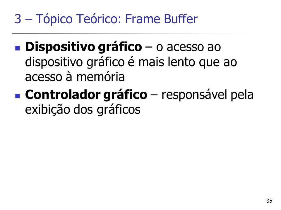 35 3 – Tópico Teórico: Frame Buffer Dispositivo gráfico – o acesso ao dispositivo gráfico é mais lento que ao acesso à memória Controlador gráfico – responsável pela exibição dos gráficos
