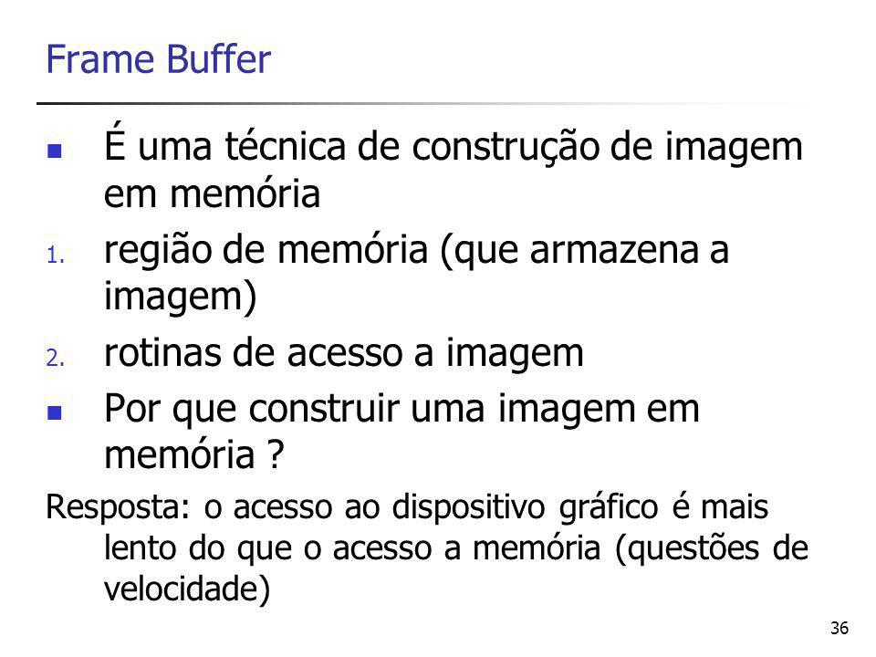 37 Usando a memória um pixel será representado por um certo número de bytes a quantidade de memória do frame-buffer deverá comportar todos os pixels que a serem representados correspondência aritmética entre a posição (x,y) de um pixel genérico e seu endereço no frame-buffer