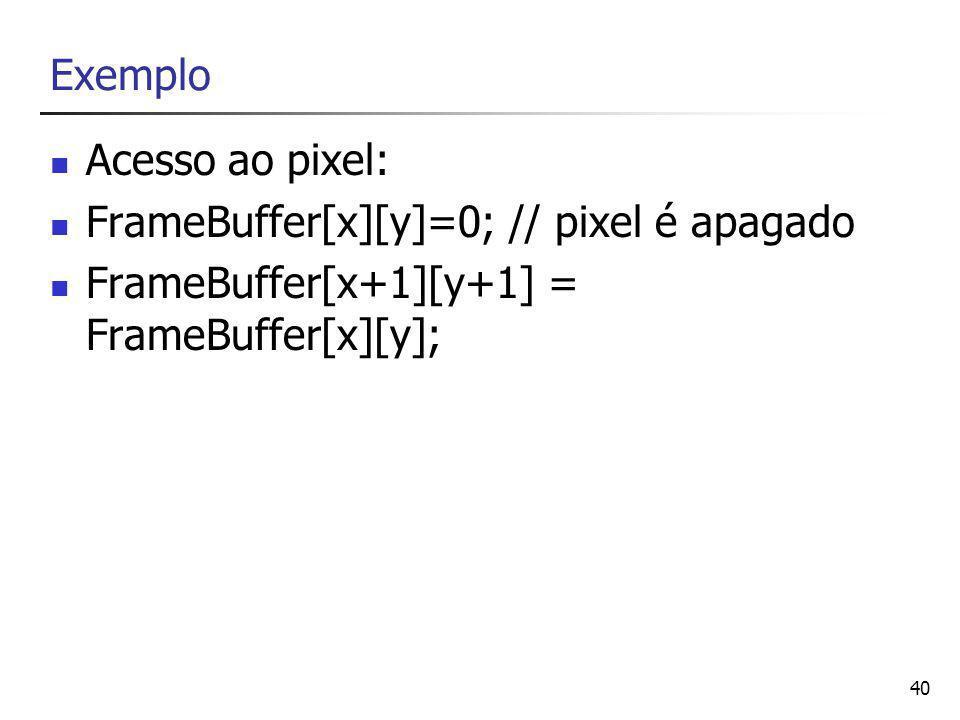 40 Exemplo Acesso ao pixel: FrameBuffer[x][y]=0; // pixel é apagado FrameBuffer[x+1][y+1] = FrameBuffer[x][y];