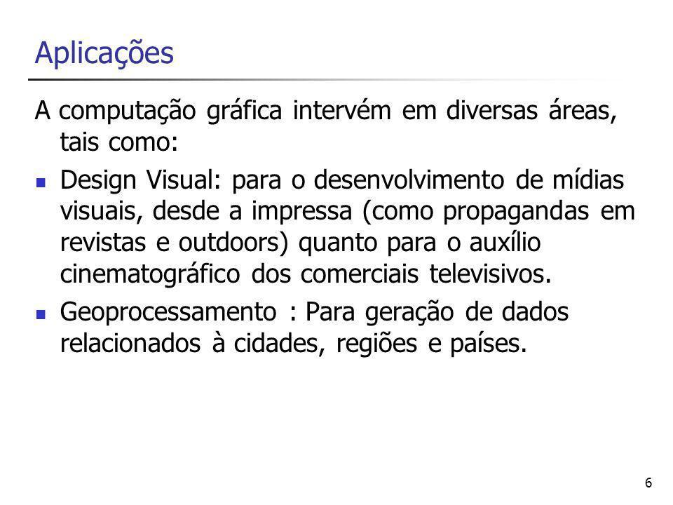 6 A computação gráfica intervém em diversas áreas, tais como: Design Visual: para o desenvolvimento de mídias visuais, desde a impressa (como propagandas em revistas e outdoors) quanto para o auxílio cinematográfico dos comerciais televisivos.