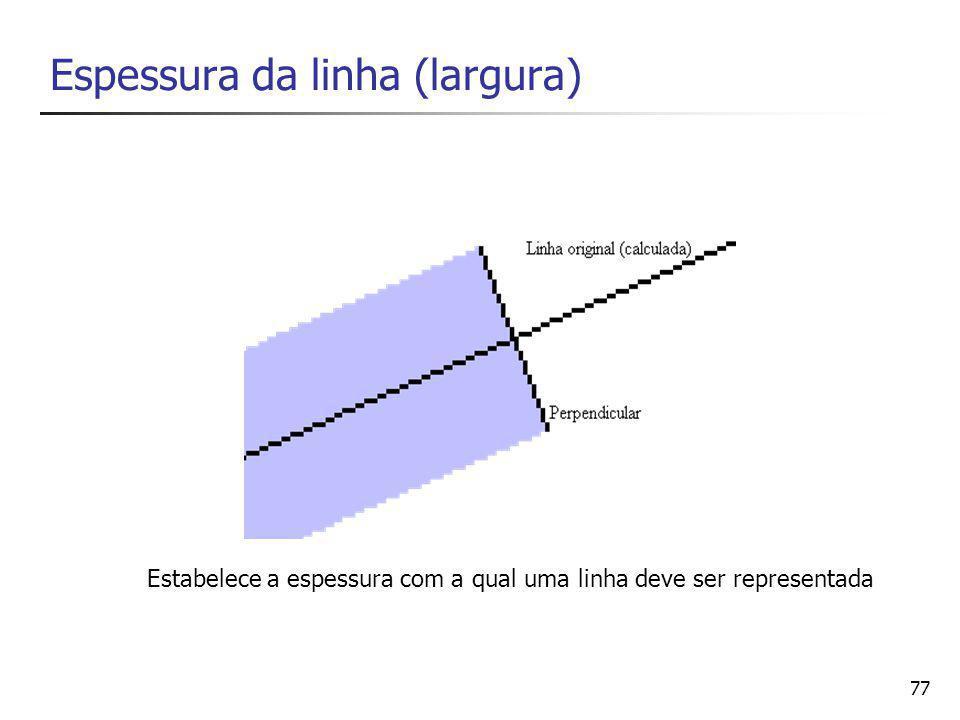 78 Atributos de áreas Uma área pode ser definida pelas linhas que definem seu perímetro.