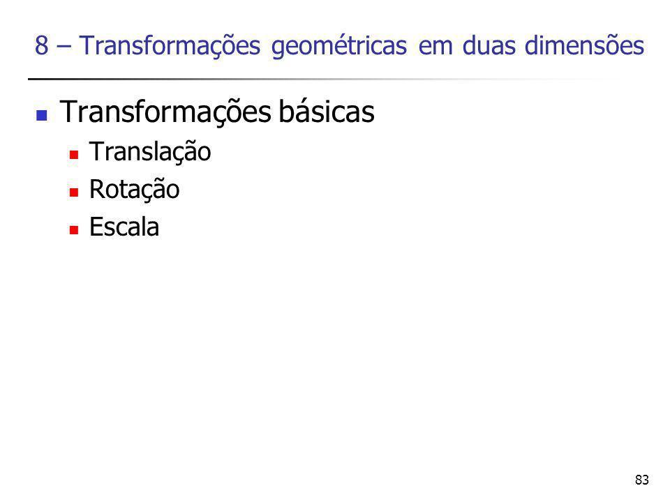 83 8 – Transformações geométricas em duas dimensões Transformações básicas Translação Rotação Escala
