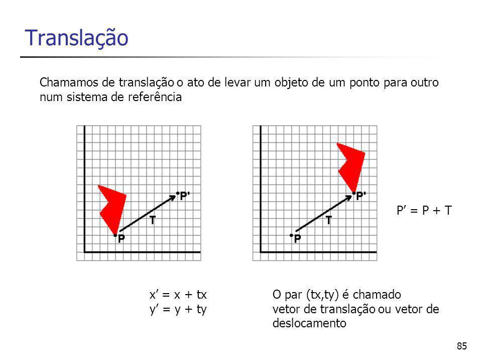 86 Rotação x' = xcos0 – ysen0 y' = xsen0 – ycos0 Dá-se o nome de rotação ao ato de girar um objeto de um ângulo, num sistema de referências P'=R.P