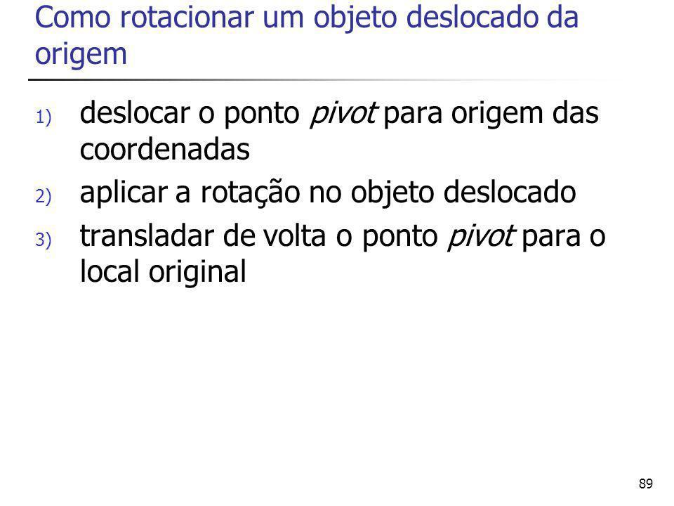 89 Como rotacionar um objeto deslocado da origem 1) deslocar o ponto pivot para origem das coordenadas 2) aplicar a rotação no objeto deslocado 3) transladar de volta o ponto pivot para o local original