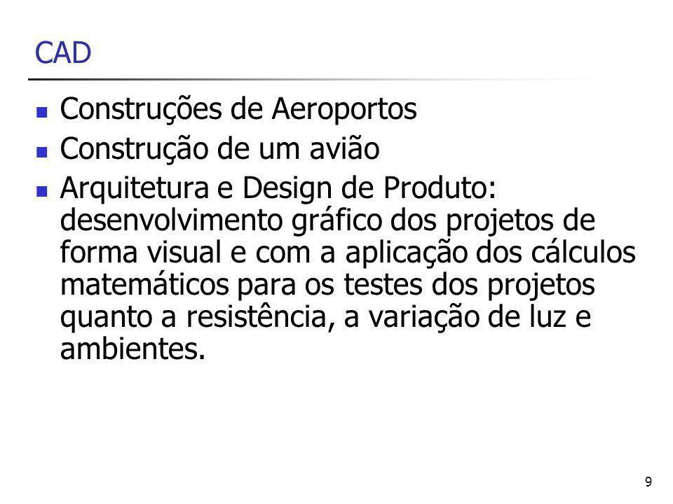 9 CAD Construções de Aeroportos Construção de um avião Arquitetura e Design de Produto: desenvolvimento gráfico dos projetos de forma visual e com a aplicação dos cálculos matemáticos para os testes dos projetos quanto a resistência, a variação de luz e ambientes.